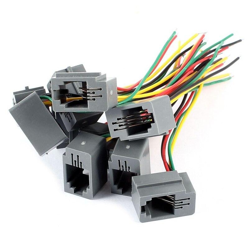 10 шт. 616E 4P4C RJ9 женский телефонный разъем адаптера w 4 провода 8 см