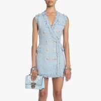 HIGH STREET Newest Fashion 2018 Designer Runway Dress Women's Sleeveless Double Breasted Fringe Tassel Colors Tweed Dress
