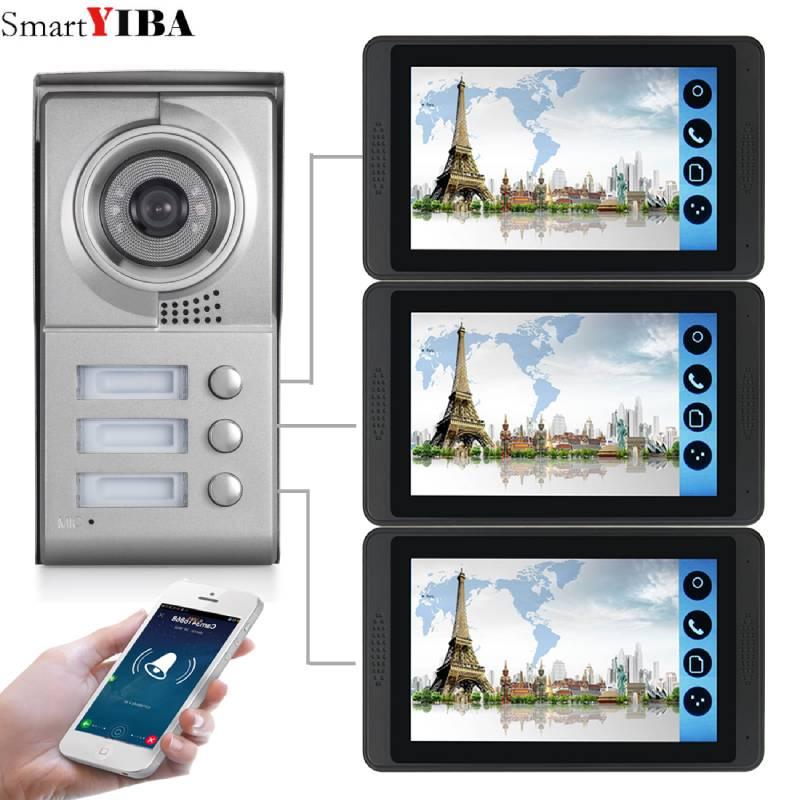 SmartYIBA Apartment Intercom  7inch LCD 3 Apartments Wifi IP Video Door Phone Intercom System 720P Camera Doorbell Camera