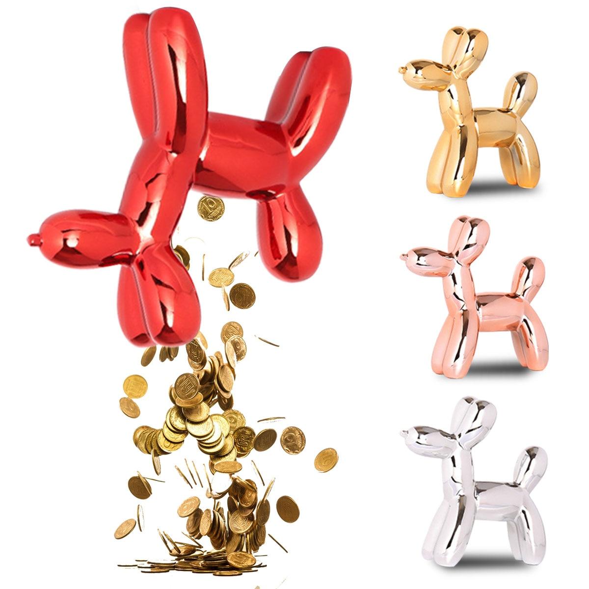 4 Color Balloon Dog Counting Coin Money Saving Box Jar