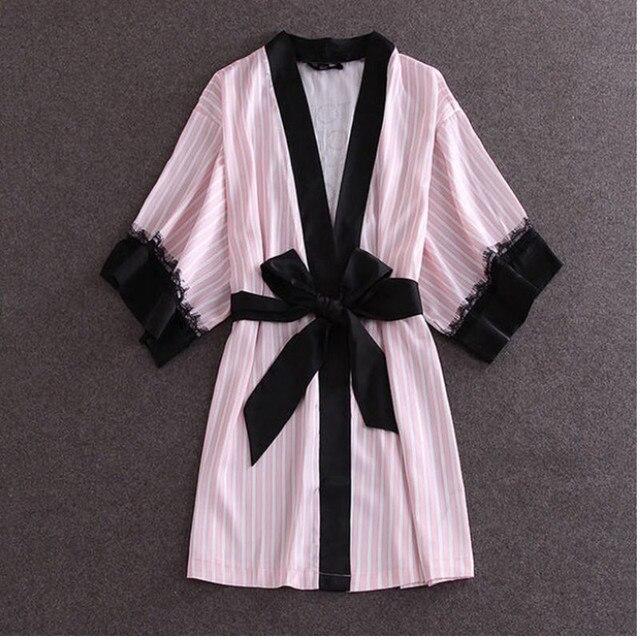 Европа И Америка Мода Розовый Полосатый Одежды Высокого Качества для женщин Ночь Платье Сексуальное Черное Белье Кружево Пижамы Один Размер