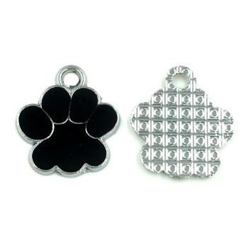 20Pcs Silver Tone Bear's Pat Enamel Black Charms Pendants Jewelry Making 19x17mm