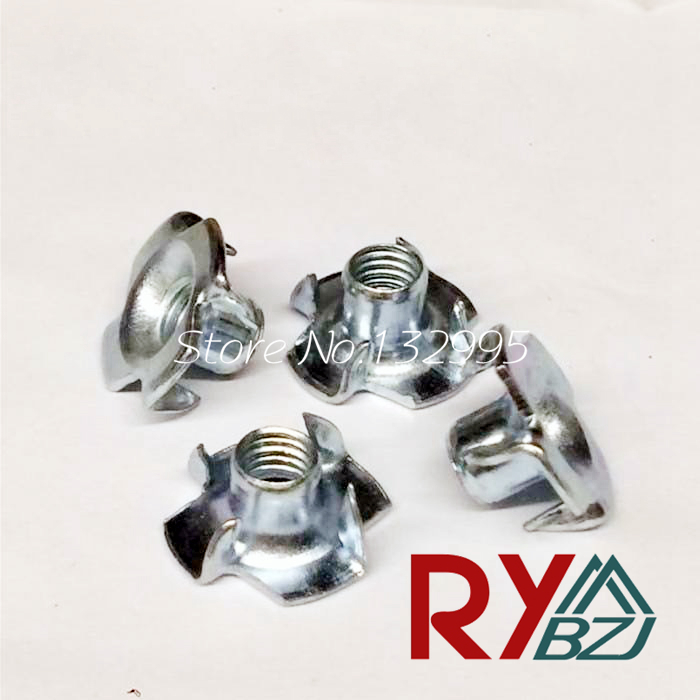 M4 M5 M6 M8 M10 Four Claw Female Furniture Nut/ Captive T Pronged Tee Blind Nuts m2 5 pem nuts standoffs blind rivet captive nuts self clinching blind fasteners
