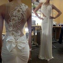 Elegante 2016 Mode weiße brautkleider vestidos Perlen Mermaid Abendkleider sheer zurück hand made perlen vestidos de festa