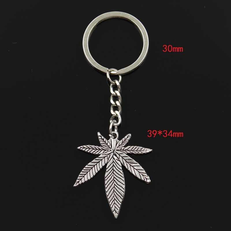 Мода 30 мм брелок металлическая подарочная упаковка Серебрянные украшения в античном стиле с бронзовым покрытием кленовые листья 39x34 мм Кулон