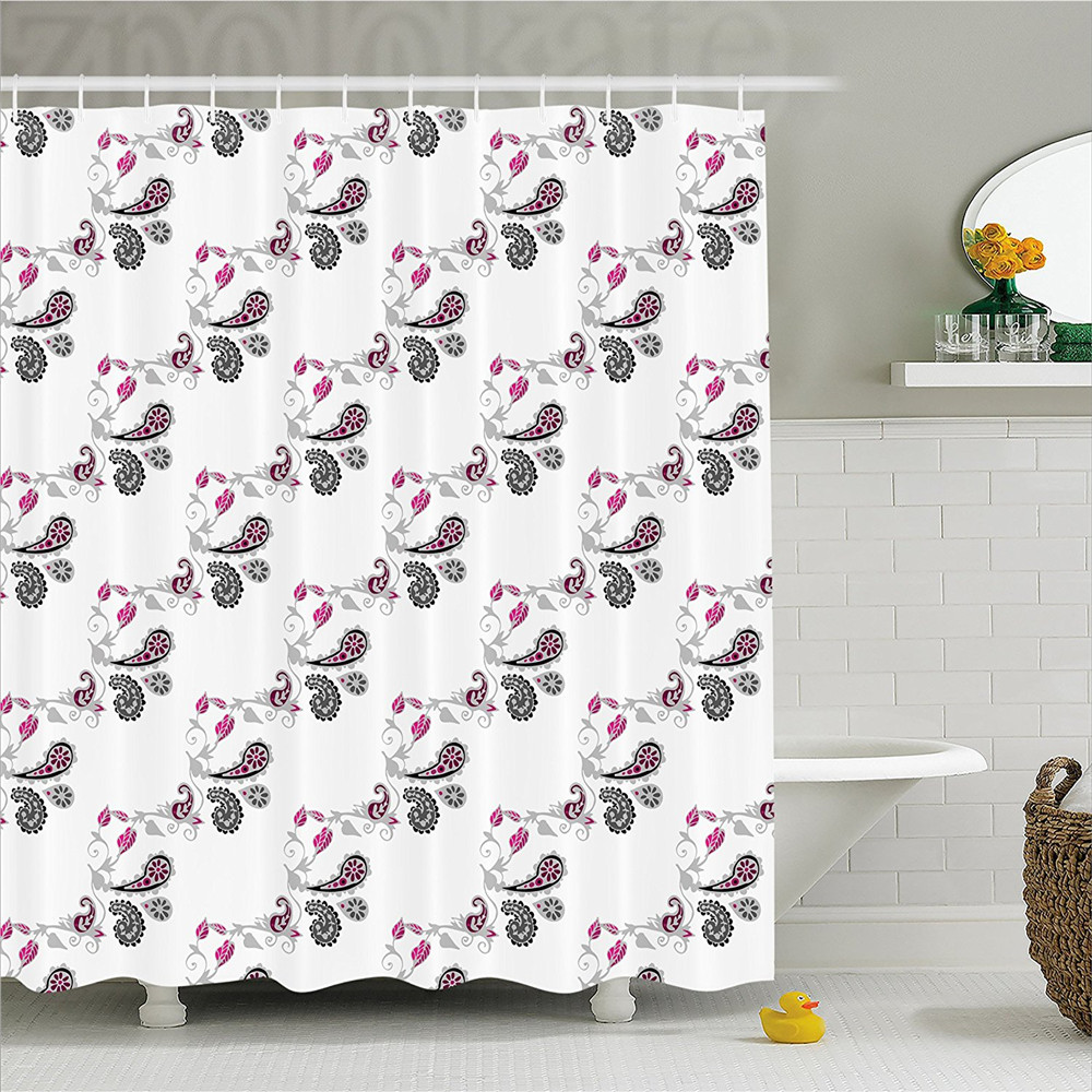 Paisley Decor Shower Curtain Design With Cute Flowers Leaves And Abstract Ivy Patterned Artwork Bathroom Set Hooks P