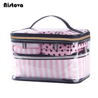 4Pcs Set PVC Cosmetic Bag Women S Pink Travel Makeup Bags Waterproof Clear Wash Organizer Pouch