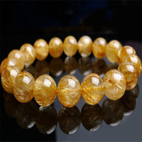 Genuine Natural Gold Hair Rutilated Quartz Bracelets Women Transparent Round Crystal Beads Powerful Bracelet 12mm