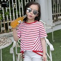 New Design Summer Children Kids Girl Dovetail Striped t shirt Children boys clothing Spring Girl's Tees T- Shirts Free Shipping