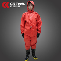 CK Tech. Light Semi closed Chemical Protective Clothing Anti virus Anti liquid Ammonia Clothes Orange for Worker's Protection