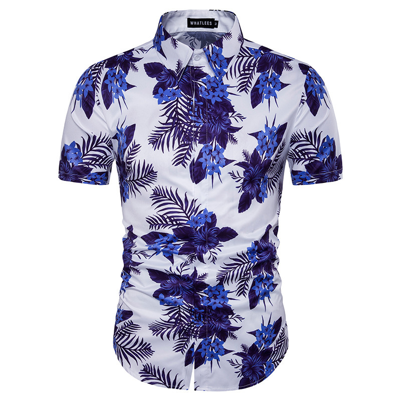 Mens printed shirt 2017 men 39 s fashion mens hawaiian shirt for Mens slim hawaiian shirt