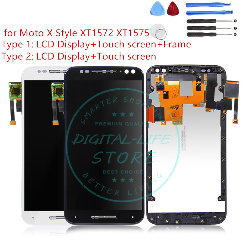 for Motorola Moto X Style XT1572 XT1575 LCD Display Digitizer Complete LCD Touchscreen Panel with Frame