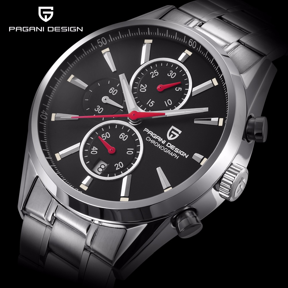 PAGANI DESIGN Casual Sport Chronograph Watch Men Leather Steel Strap Military Waterproof Mens Watches Relogio Masculino 2018