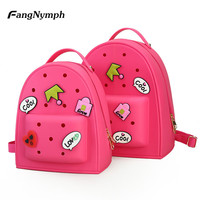 FangNymph New Silicone Sweet Baby Girls School Bags Candy Colors Cartoon Children Backpacks Lovely Kids Satchel