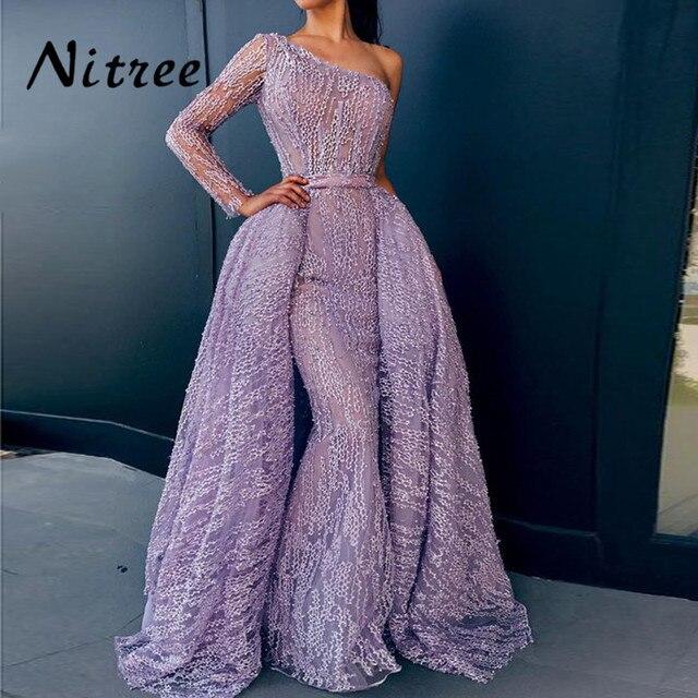 8f64395218 African Purple One Shoulder Evening Dresses Turkish Arabic Aibye 2018  Muslim Dubai Mermaid Formal Prom Gowns Moroccan Kaftans