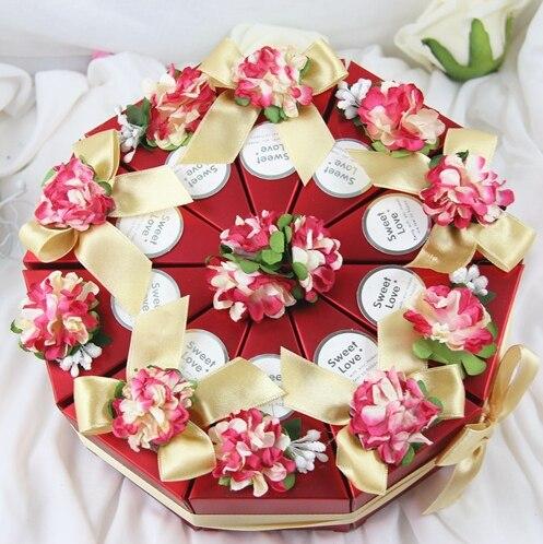 Dia 22cm Red Flower Diy Candy Box Round Cake Design Paper Dessert