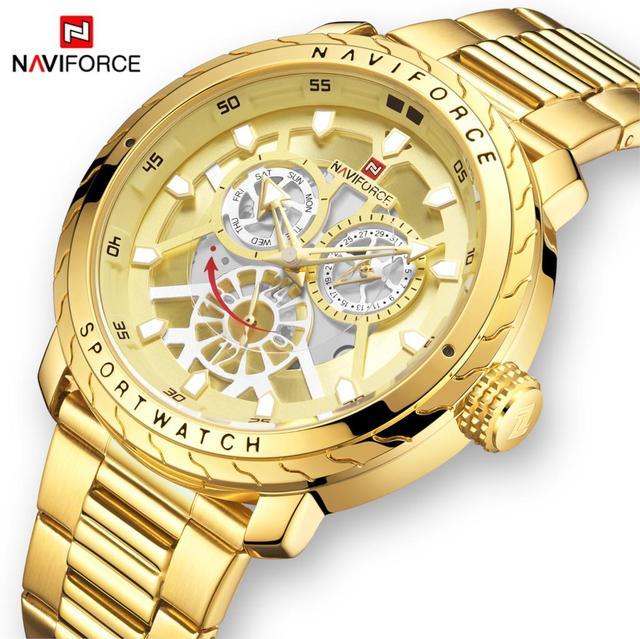 Naviforce 럭셔리 브랜드 시계 남자 골드 쿼츠 스포츠 방수 군사 손목 시계 시계 전체 스틸 시계 relogio masculino