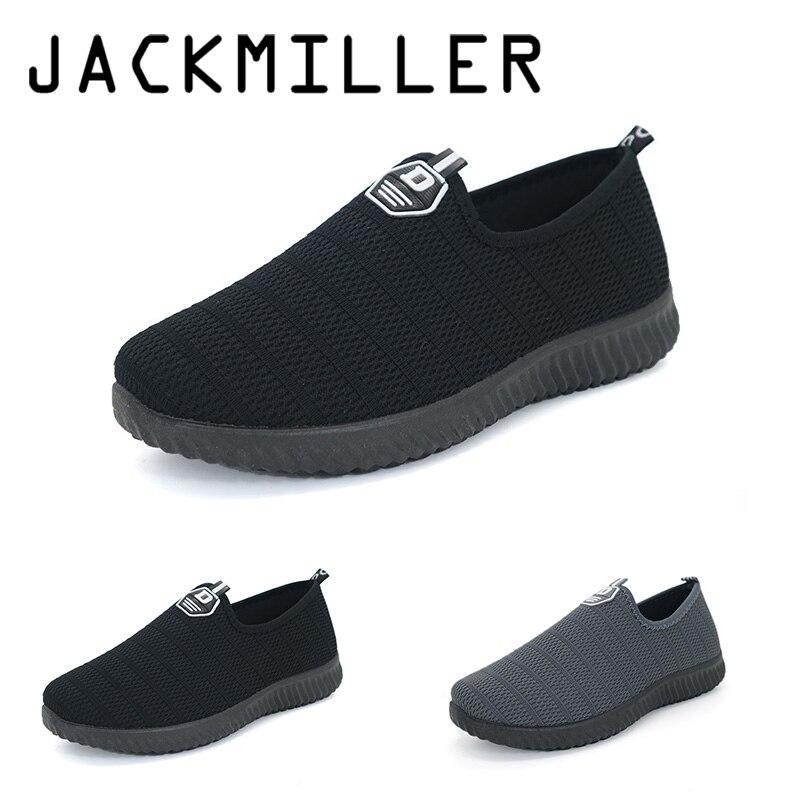 Jackmiller Causal Mens shoes slip-on summer breathable mesh leisure shoes for men outdoor super light Black & Grey good selling