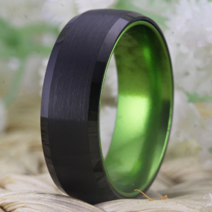 Image 4 - Classic Rings For Women Mens Bridal Jewelry Wedding Engagement Rings Tungsten Ring Black Tungsten with Green Aluminum Ring