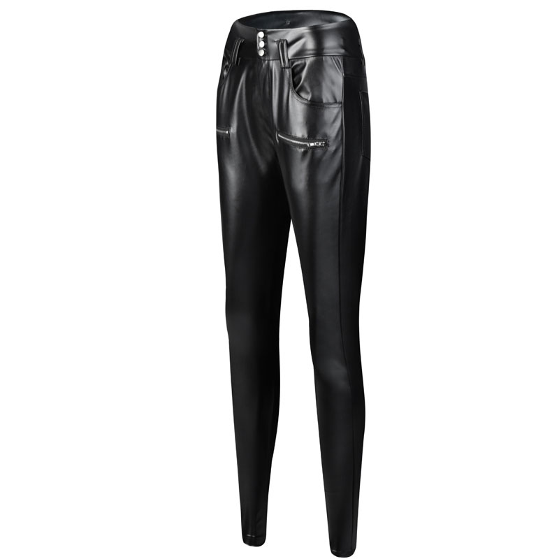 2019 Punk Pu Leather Pants Push Up Black High Waist Pants Female Long Trousers Women Sexy Pants Button Cool Pencil Pants Outwear in Pants amp Capris from Women 39 s Clothing