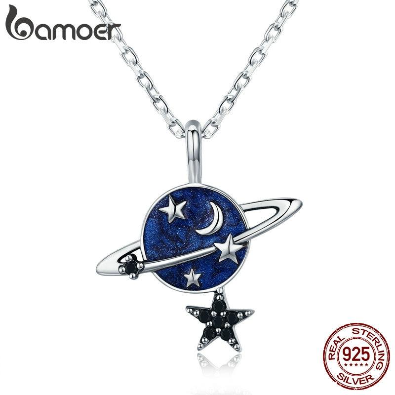 BAMOER Trendy Genuine 925 Sterling Silver Secret Planet Sparkling Star Pendant Necklace for Women Sterling Silver Jewelry SCN230