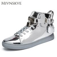 MIVNSKVE Brand New Men Casual Shoes Flats Men High Top Shoes Fashion Hip Hop Leather Shoes Men Sliver Pink Unisex Footwear