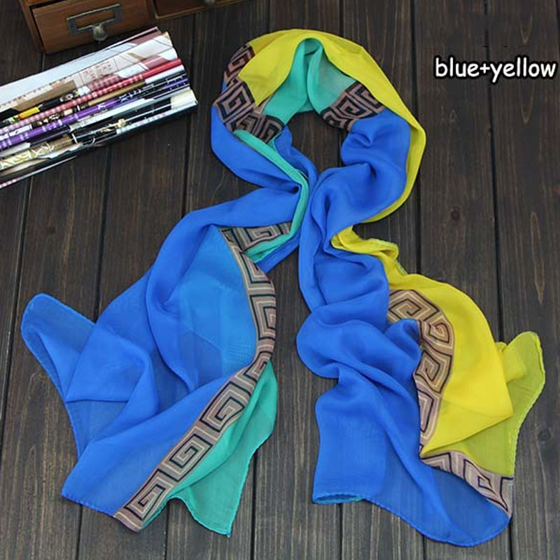 Fashion Vintage Silk   Scarf   Women Lady Long Soft Chiffon   Scarf     Wrap   Shawl Stole Brand   Scarves   echarpes foulards femme