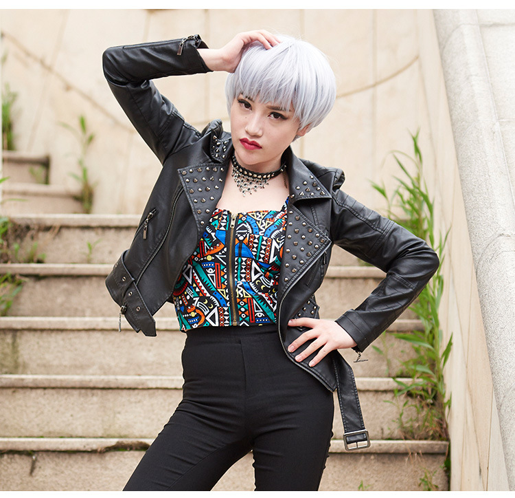 Black Red White Plus SIZE 3XL 4XL Rivet Motorcycle Leather Jackets Woman 2016 Fashion Female Steerwear Short Overcoat
