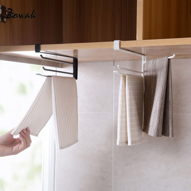 Us 10 59 Hanging Towel Rack Rotation No Nail Holder Cupboard Bar Bathroom Kitchen Cabinet Shelf Hook Dish Cloth Hanger Paper Storage Rack In Storage