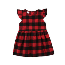 Lovely Baby Girls Plaid Printing Classic Cotton Dress Sleeveless Spring Summer Out Wear Casual Mini Dress For Baby Girls