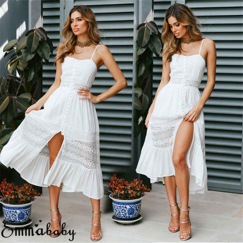 c34208965c Fashion Casual Women Ladies Boho Long Maxi Dress Summer Sleeveless Beach  Evening Party A-Line