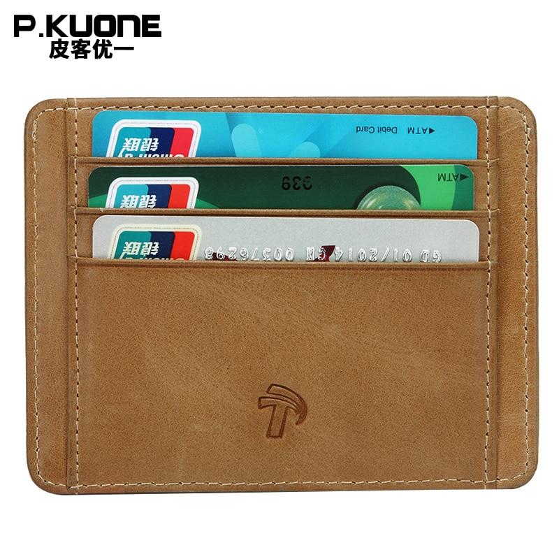 P.KUONE Genuine Leather Wallet Blocking Mini Wallet Protect Safe Credit Card Holder Designer High Quality Money bag Waller Purse