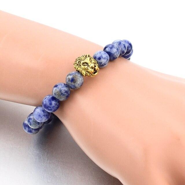 Фото chicvie синий натуральный камень зернистый браслет с львом женские цена