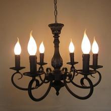 Best Price Wrought iron candle chandelier European retro Mediterranean living room bedroom restaurant antique iron chandelier led