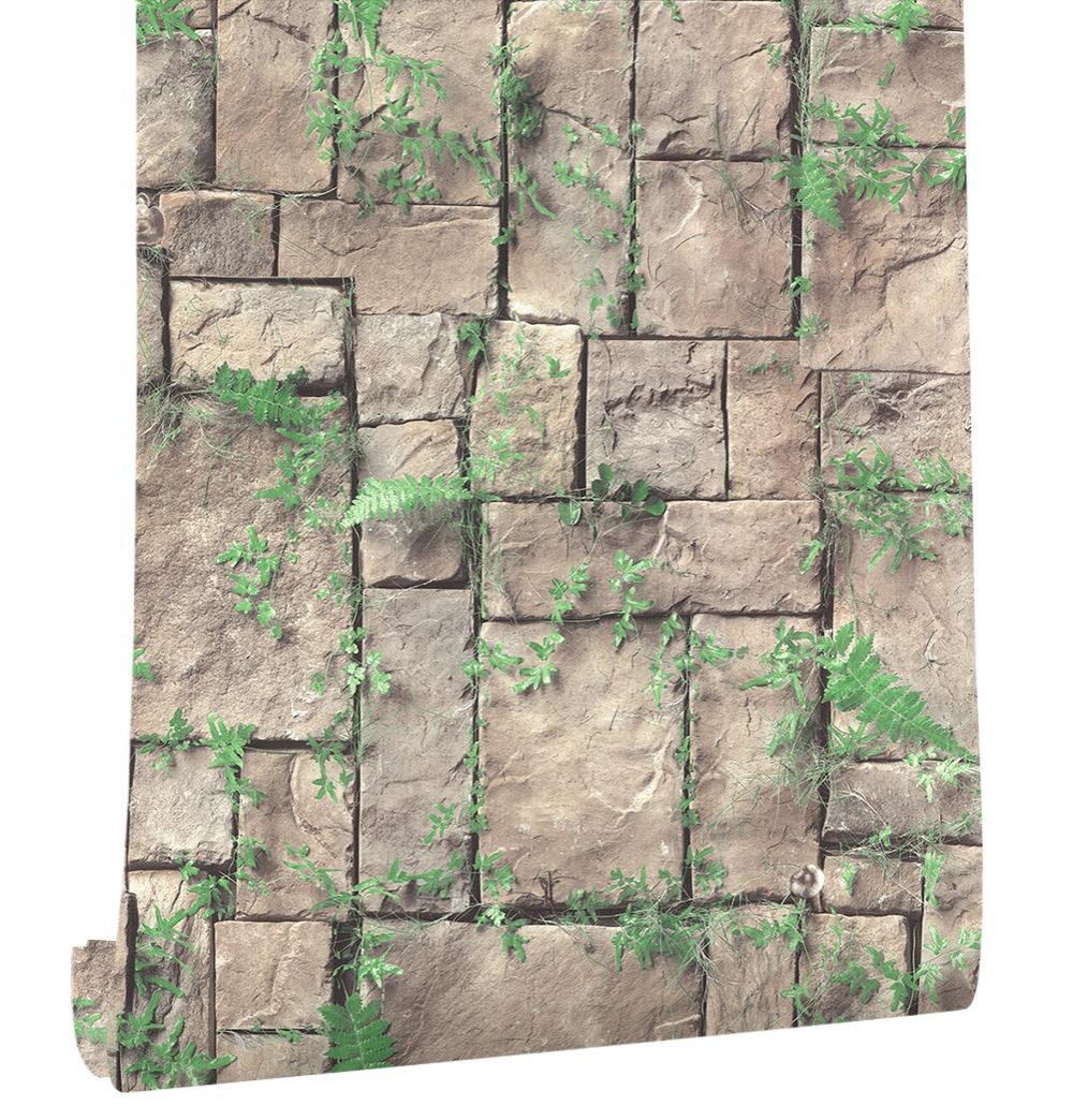HaokHome Vintage 3D Brick PVC Vinyl Wallpaper PVC Rolls Brown/Green Grass Leaves Stone Murals Home Kitchen Bathroom Decoration haokhome vintage faux marble stone pvc wallpaper rolls taupe black 3d brick realistic murals home bedroom living wall decoration