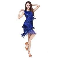 Latin Dance Dress Stage Performance Party Sequins Tassel Latin Skirt Woman Sleeveless Latin Cha Cha Samba Rumba Dance Costumes
