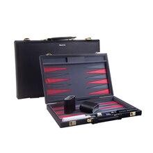 15 inch large Black PU Backgammon Set Traveling font b Toys b font large Luxury Folding