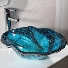 Salle De Bain Vasque En Verre Evier Bleu Avec Noir Vestiaire Comptoir  Cannelé Vague PATEL Fleur