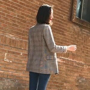 Image 3 - Женский винтажный блейзер в клетку, осенне зимние толстые куртки, женские ретро костюмы, пальто 2018