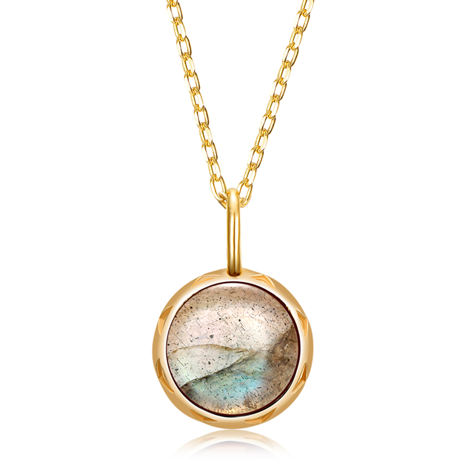 ALLNOEL Real Labradorite Pendants Necklace For Women Solid 925 Sterling Silver Round Gemstone Jewerly Engagement Wedding New (1)