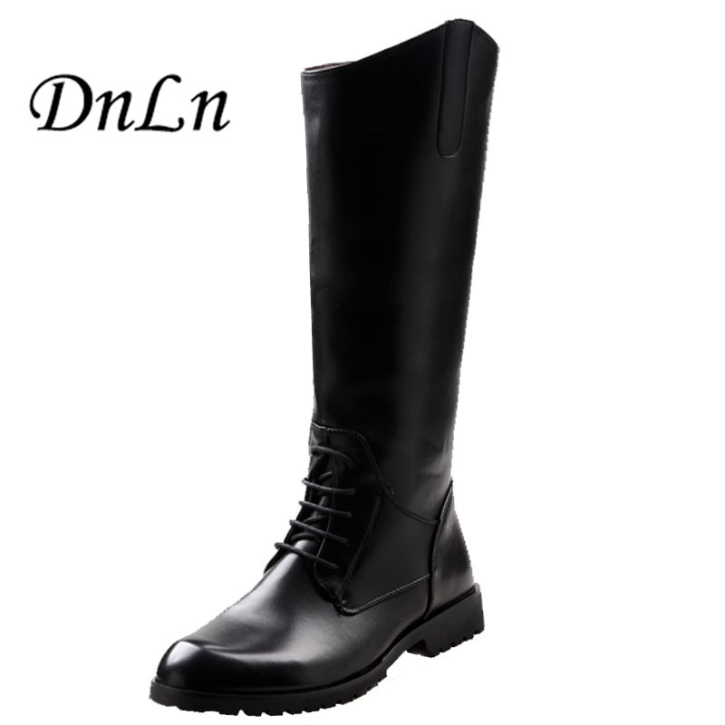Size 37-45 Men Knee High Boots Black Equestrian Motocycle Boots High Quality PU Leather Mens Boots Military D30