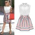 2016 stripes dress temperamento señora botón ocasional sin mangas de las mujeres vestidos de verano