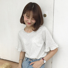 Mihoshop Ulzzang Korean Korea Women Fashion Clothing Summer Casual Base Ruffles Preppy Cotton T shirt Tops