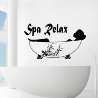 Spa Relax Simple Quotes Art Wall Decals Home Rooms Special Decorative Wall Murals Woman Silhouette Modern
