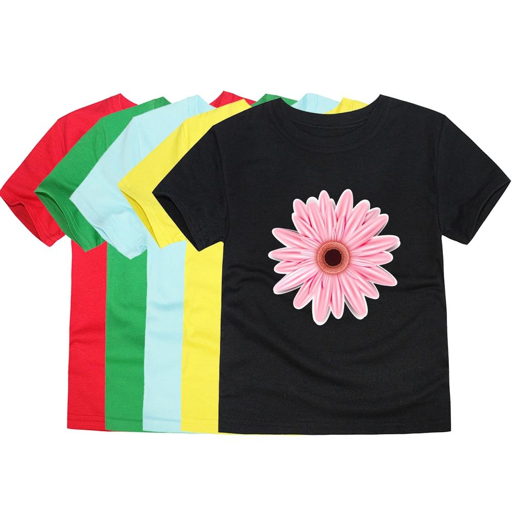 Хлопковая летняя футболка с короткими рукавами и цветочным принтом для маленьких девочек, Детская футболка с ромашками, детская одежда, фут...