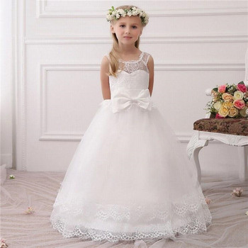 Simple Design White Flower Girl Dress For Special Occasion with Bow Lace Up Back V-Neck Holy First Communion Gowns Ankle-Length