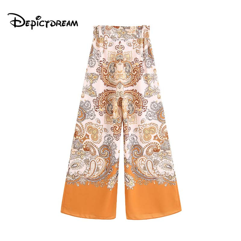 2019 women paisley print   wide     leg     pants   pockets elastic waist female causal vintage chic full length trousers pantalones