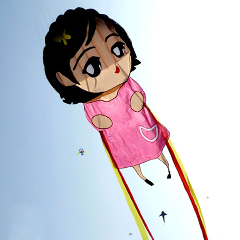 Single Line Kite Flying Cute Girl Soft Kite for Kids Outdoor Toys Beginners Easy Flying Ripstop Nylon Beach Kite 2 5m huge dual line control soft frameless stunt parafoil flying kite plaid cloth made with 2 line board and 2 x 40m line