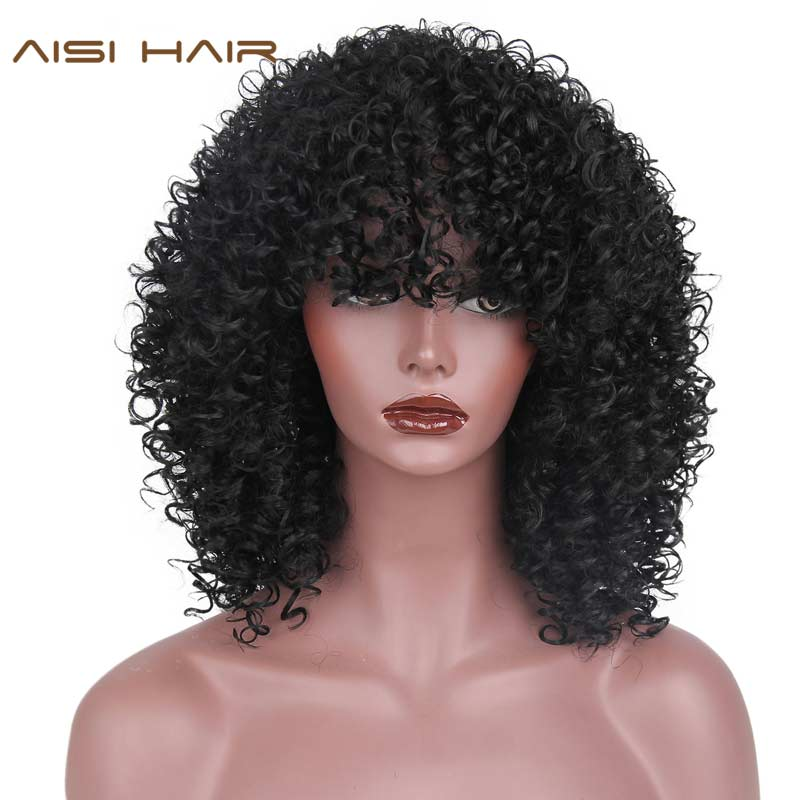 AISI HAIR Afro Kinky Curly Wig Synthetic Wigs For Women Black Natural Afro High Temperature Hair 7 Colors Available(China)