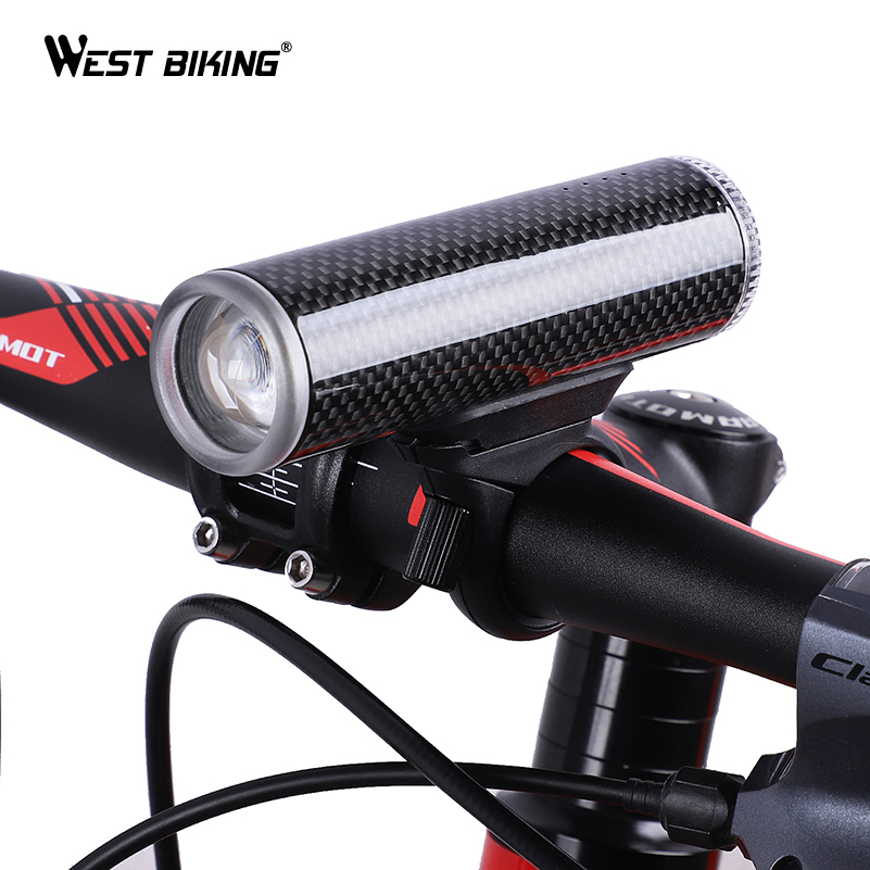 WEST BIKING Bicycle Light Carbon Fiber/Aluminium Alloy USB Rechargeable Flashlight Waterproof Cycling Headlight Bike Front Light